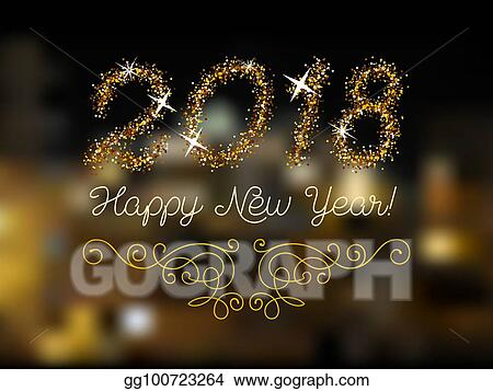 Vector Clipart   Glitter gold lettering happy new year invitation     Glitter gold lettering Happy New Year invitation