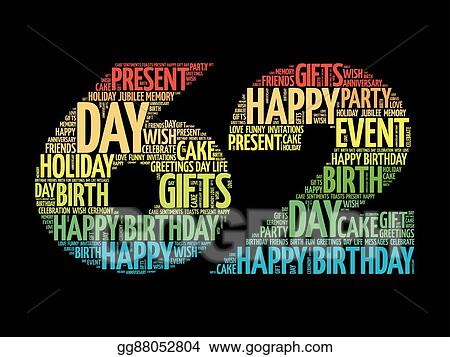 Vector Stock Happy 62nd Birthday Word Cloud Clipart