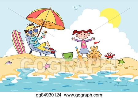 Vector Clipart Kids Making Sand Castle In Summer Camp