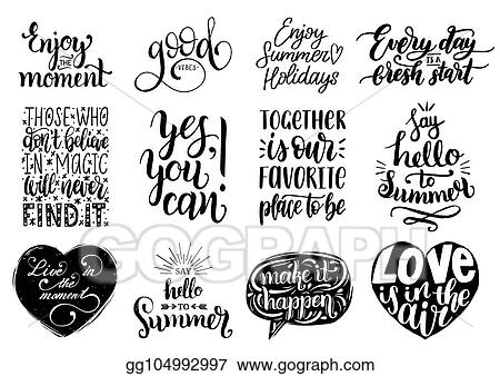 Image of: Background Vector Set Of Hand Lettering With Motivational Phrasescalligraphy Inspirational Quotes Collection Adobe Stock Vector Illustration Vector Set Of Hand Lettering With Motivational