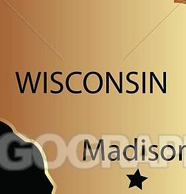 HD Decor Images » Vector Illustration   Wisconsin state usa map  EPS Clipart     Wisconsin state usa map
