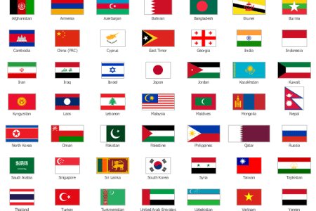 countries in asia flags full hd maps locations another world