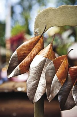 Decorating with Magnolia Leaves During the Holidays   ConfettiStyle Painted Magnolia leaves  The decorating possibilities