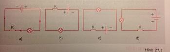 Hãy dùng mũi tên như trong sơ đồ mạch điện hình 21.1a để biểu diễn chiều dòng điện trong các sơ đồ mạch điện hình 21.1b, c, d. - sgk Vật lí 7 trang 59
