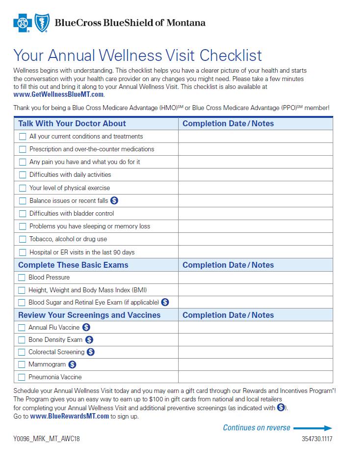 annual physical exam checklist