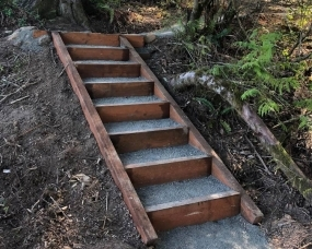 Pdx Deck Fence Cedar Staircase Conrad Lumber Co   Pressure Treated Wood Stairs   L Shaped   Exterior   Timber   45 Degree Stringer   8 Foot