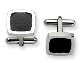 CONTEMPO Black Carbon Fiber Cuff Links