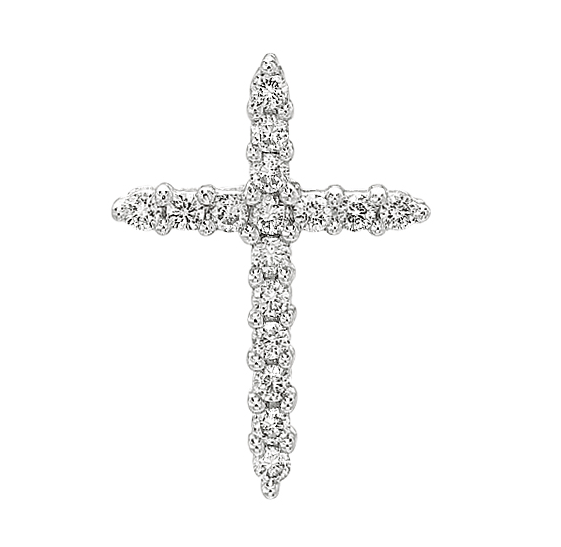 CONTEMPO 14kt White Gold Diamond Cross