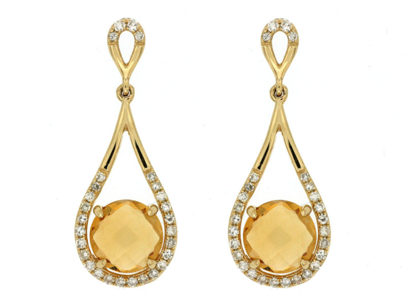 14KT YELLOW GOLD DROP EARRINGS WITH 2 CITRINES WEIGHING 1.65CTS AND DIAMONDS WEIGHING .22CTS TOTAL DIAMOND WEIGHT