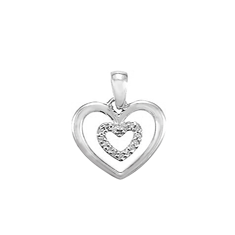 14KT WHITE GOLD DIAMOND HEART WITHIN A HEART PENDANT-AR2566-004