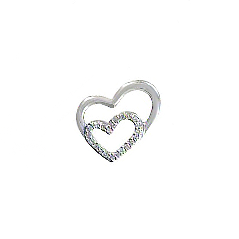 14KT YELLOW GOLD DIAMOND HEART WITHIN A HEART PENDANT-AR2603-004