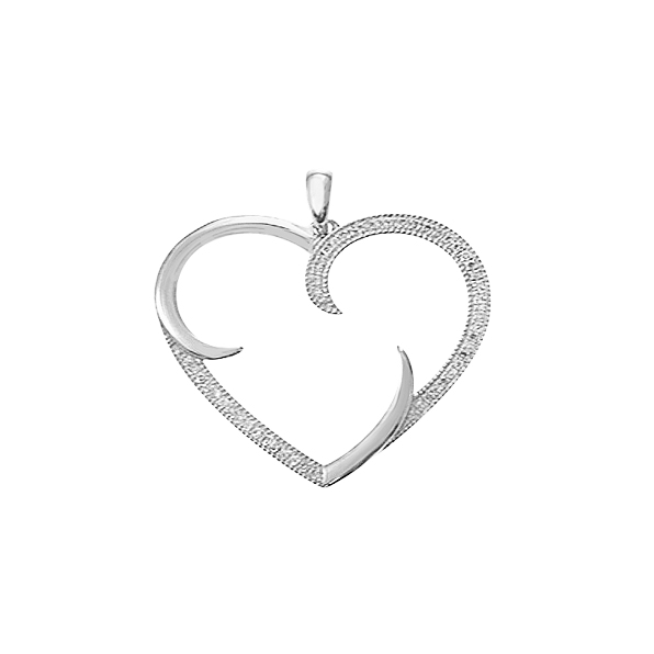 14KT WHITE GOLD LARGE OPEN HEART PENDANT WITH ROUND DIAMONDS-AR2999-001