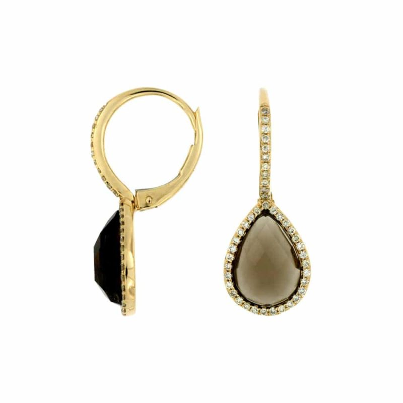 14k Yellow Drop Earrings With Round Diamonds and pear shape smokey topaz center stone