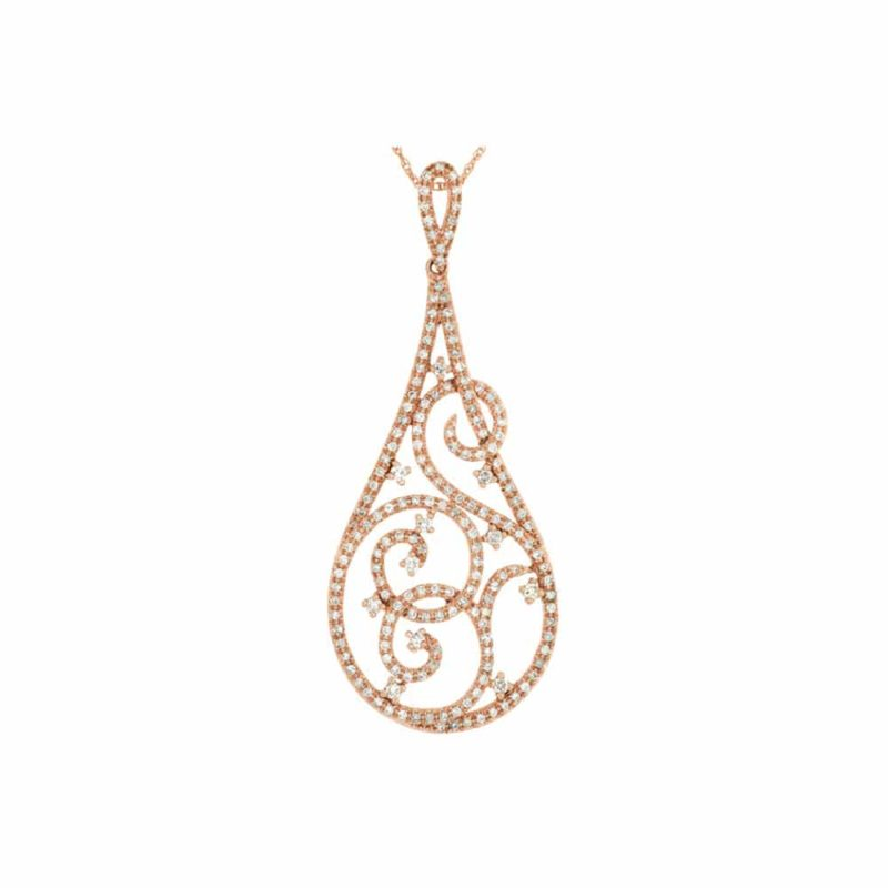 14k Rose Diamond Pave Pear Shape Drop Pendant With 14 Karat Rose Gold Chain