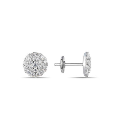Jewelry Store Near Me - Lady's White 14 Karat Round Cluster Earrings With 86-1.61Tw Round Diamonds