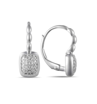 Jewelry Store Near Me - LADY'S WHITE 14 KARAT SQUARE PAVE SET LEVERBACK EARRINGS WITH 46-0.12TW ROUND DIAMONDS