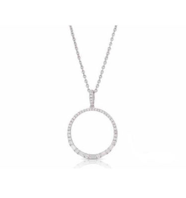 Jewelry Store Near Me - Lady's White 14 Karat Baguette And Rd Cut Circle Of Life Pendant With 47-0.45Tw Diamonds