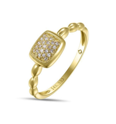 Jewelry Store Near Me - LADY'S YELLOW 14 KARAT SQUARE PAVE SET FASHION RING WITH 23 ROUND DIAMONDS