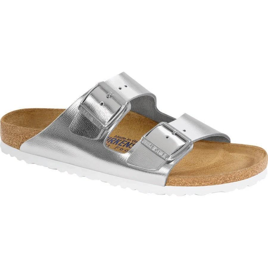 Birkenstock Arizona Soft Bed Narrow Metallic Sandal ...