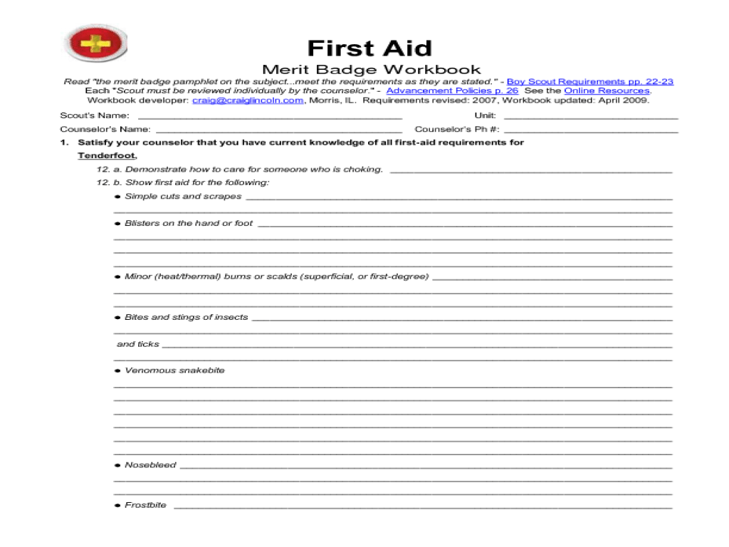 worksheet Completed First Aid Merit Badge Worksheet bsa first aid merit badge worksheet free worksheets library worksheet