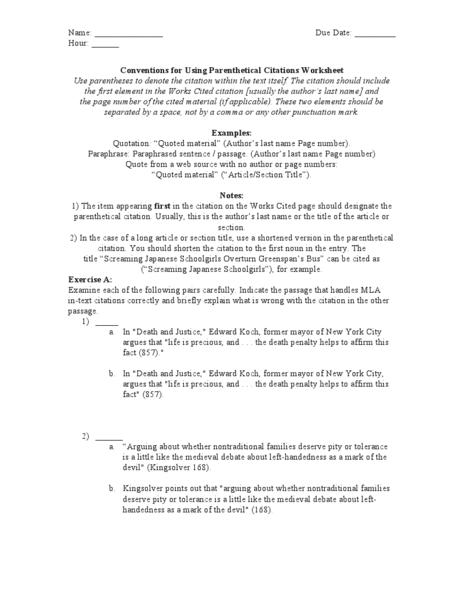 Format Worksheets Mla Practice