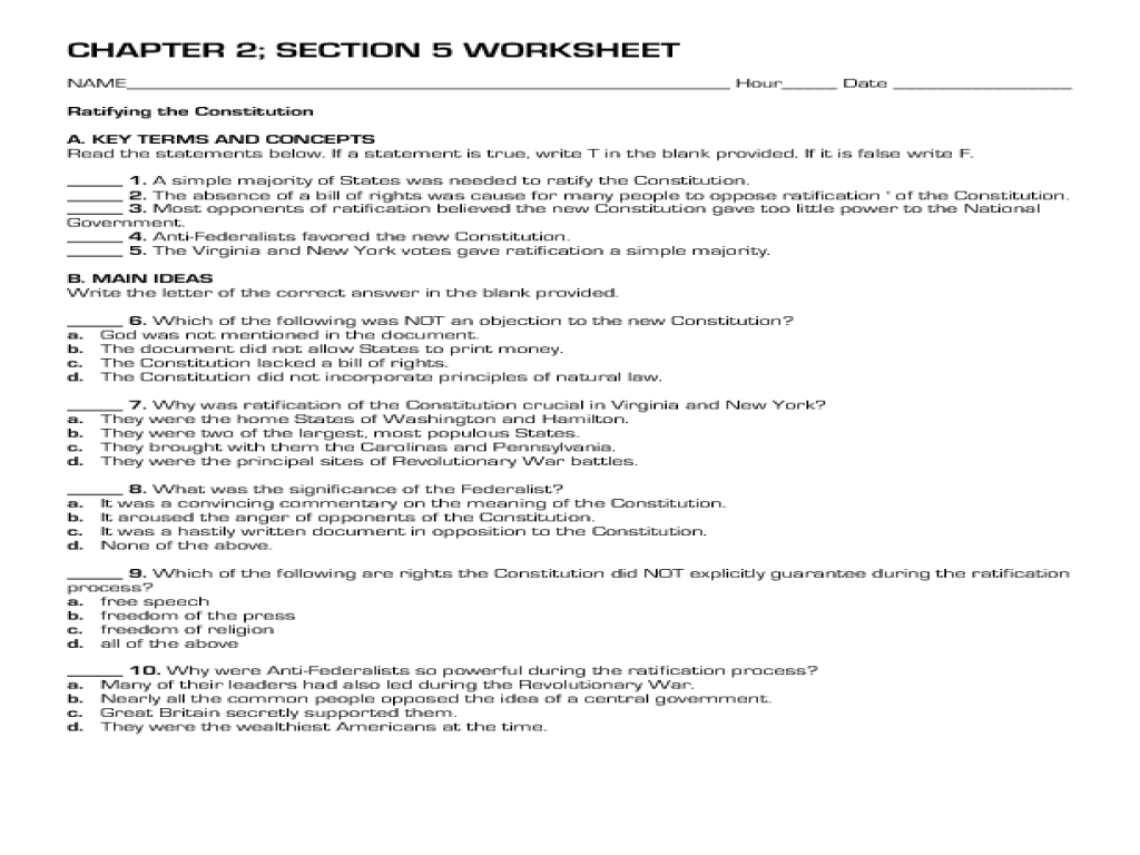 Constitution Outline Worksheet Free Worksheets Library | Download ...