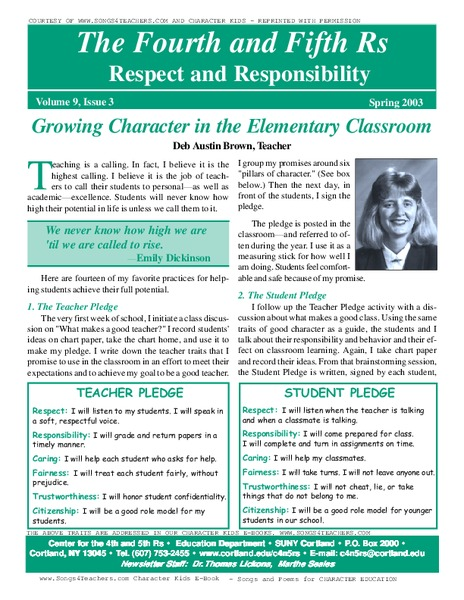 Respect And Responsibility Worksheets
