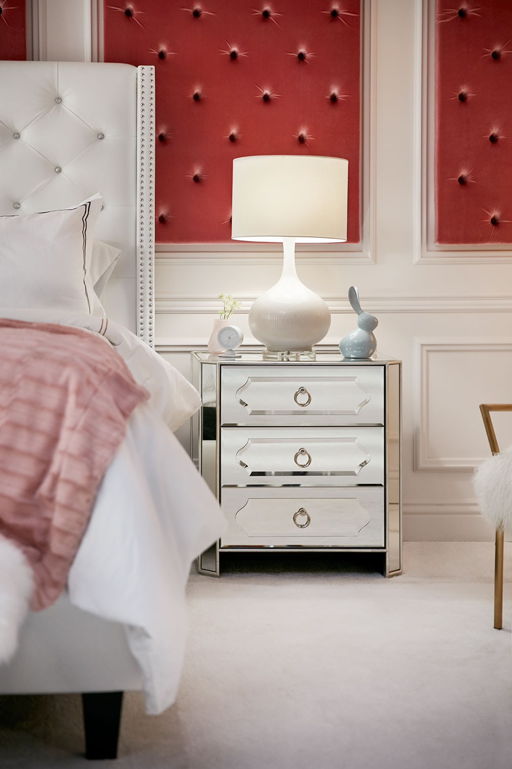 Harlow Bedside Chest Mirrored Value City Furniture And