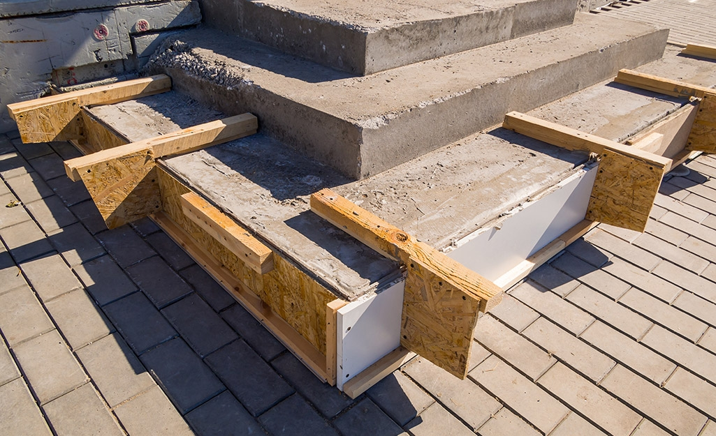 How To Repair Concrete Steps The Home Depot | Attaching Wood To Concrete Steps | Composite Decking | Handrail | Staircase | Screws | Deck Stairs