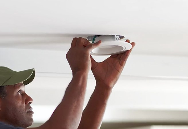 Learn to Install Recessed Lighting at The Home Depot Mount the light   Recessed Lighting an Existing Ceiling