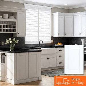 Kitchen Cabinets Color Gallery at The Home Depot Shop Hampton Bay Shaker Satin White Cabinets