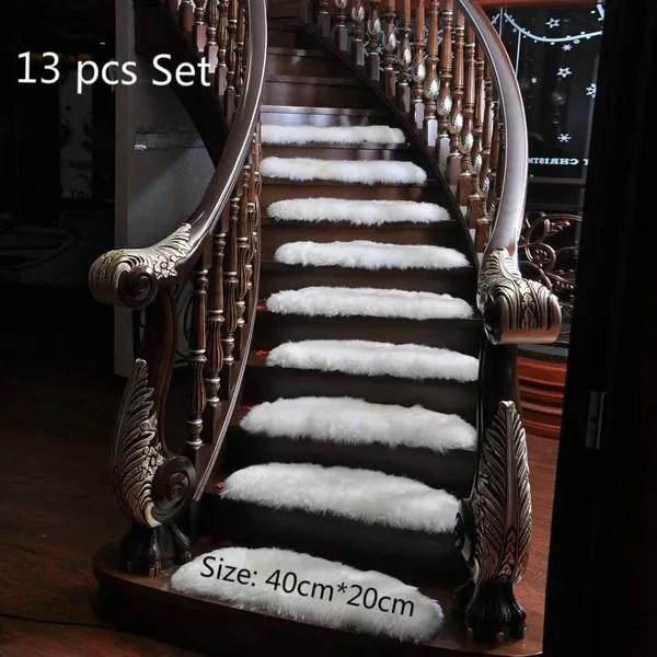 13Pcs Set Stair Treads Mats Arc Artificial Wool Staircase Carpets | Wool Carpet Stair Treads | Flooring | Zealand Wool | Beige Carpet | Cat Pet | Hardwood Stairs