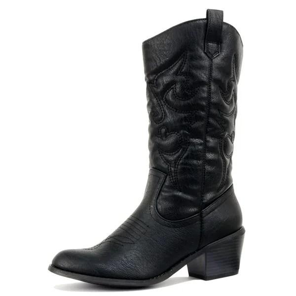 f9a72db905a Wish Womens Cowboy Western Boots Vintage folk custom Pointed Toe ...