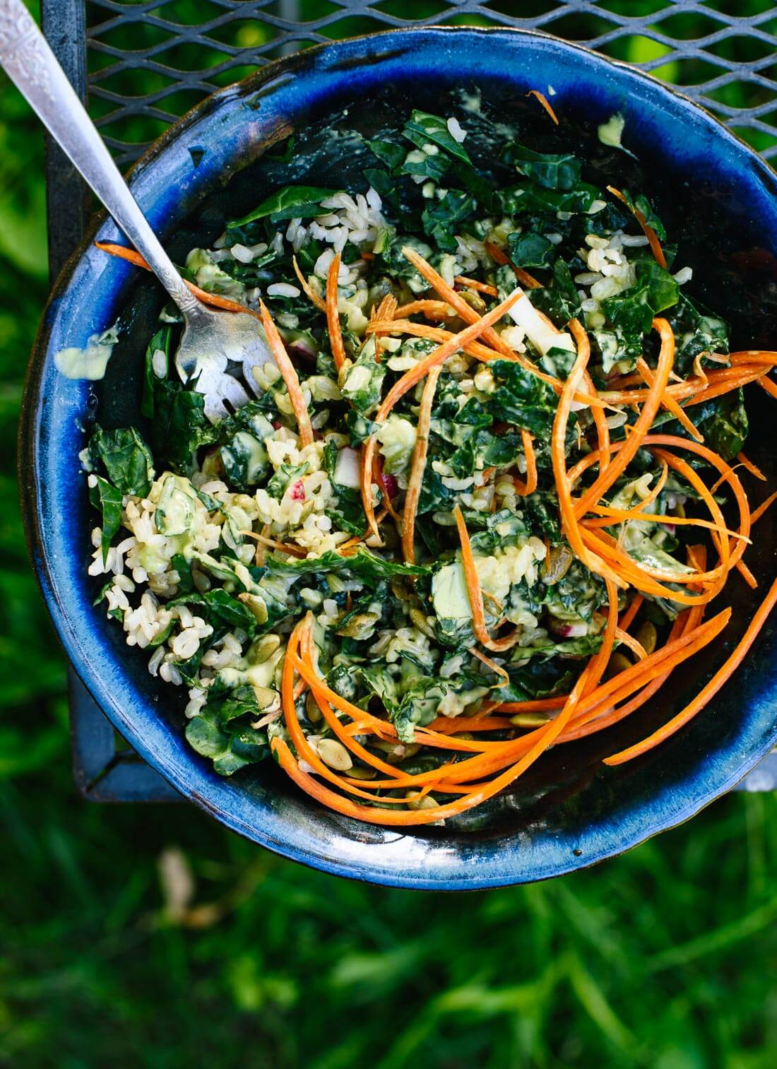 Anything Goes Kale Salad With Green Tahini Dressing