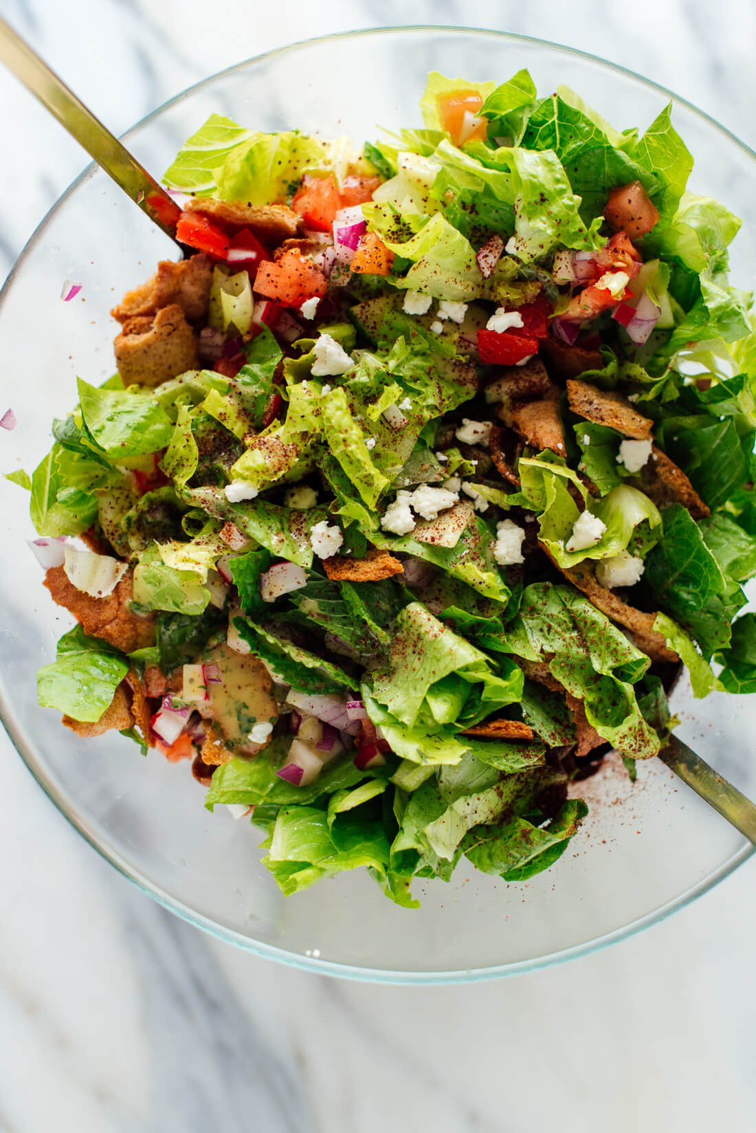 Fattoush Salad Recipe With Mint Dressing Cookie And Kate