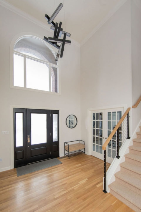 Dreary First Floor Areas Get Contemporary Update Corinthian Fine | Oak Handrail For Glass | Cottage Style | Glass Railing | Red Oak | Landing | Stair Railing