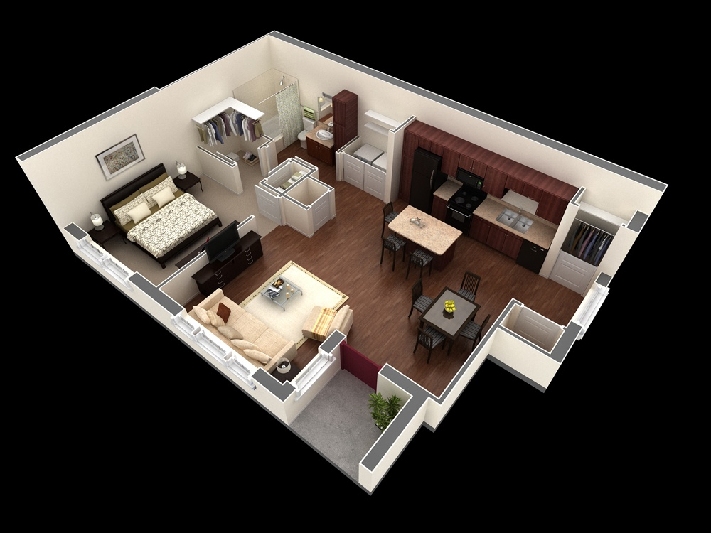 Das Beste 1 Bedroom Apartment House Plans In Diesem Monat