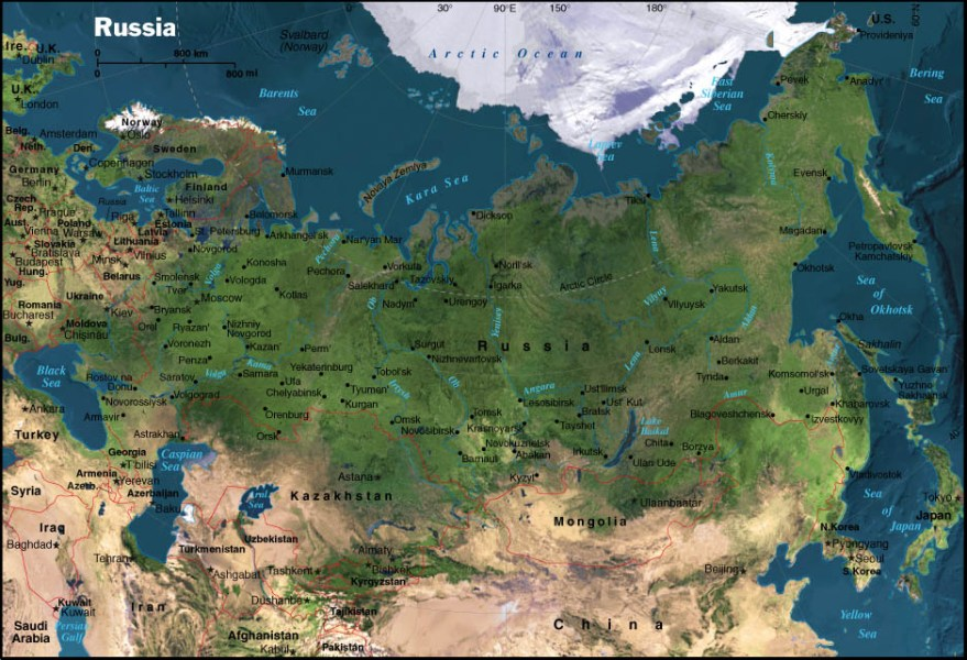 Russia  satellite map   CosmoLearning Geography Satellite map of Russia Source  National Geographic