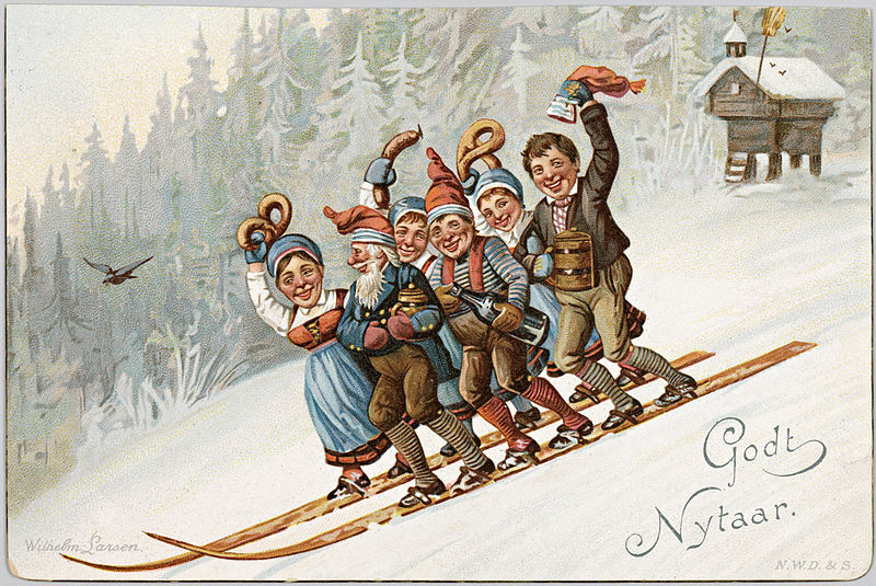 The Uncontested Weirdness of Vintage    Happy New Year    Postcards     The Danish know how to party like it s 1883   Quick  Grab sausage
