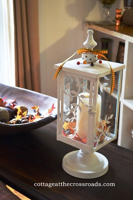 Decorating the Cottage for Fall   Cottage at the Crossroads white lantern decorated for fall