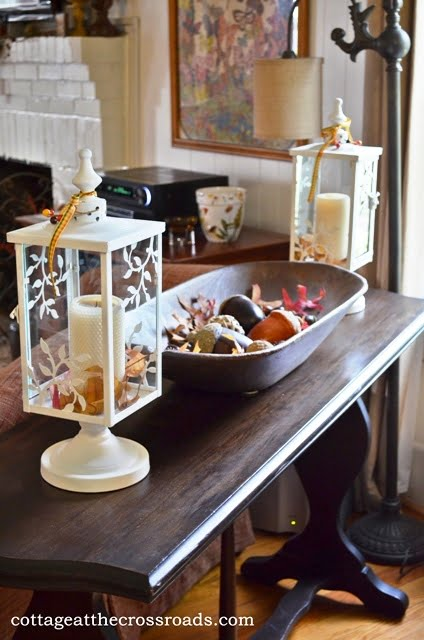 Decorating the Cottage for Fall   Cottage at the Crossroads sofa table with lanterns and dough tray