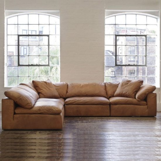 Tan Sectional Leather Couch