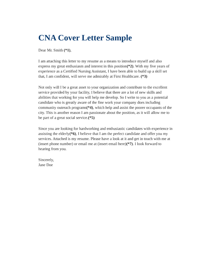 Basic Cna Cover Letter Samples And Templates