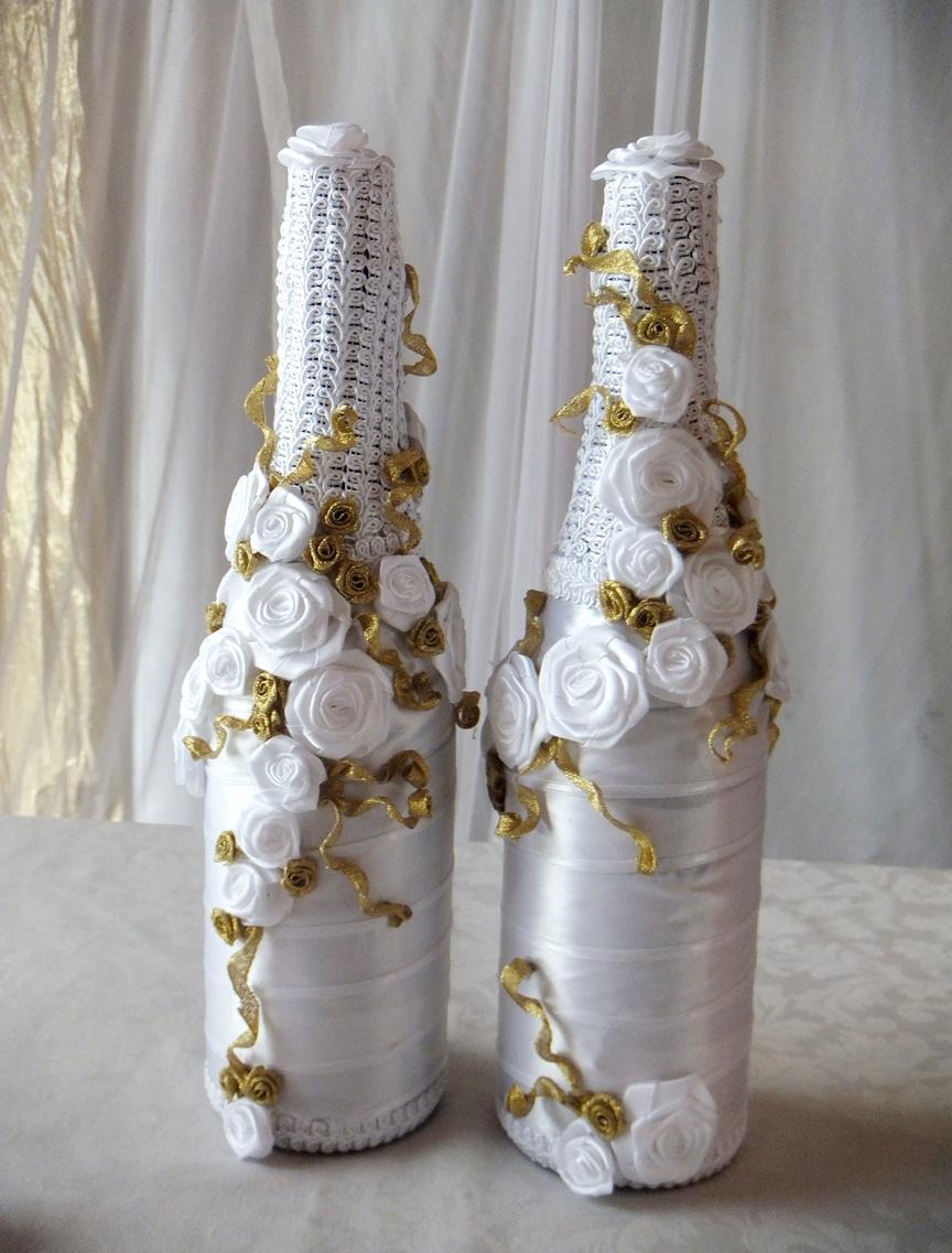 Botol perkahwinan putih dan emas
