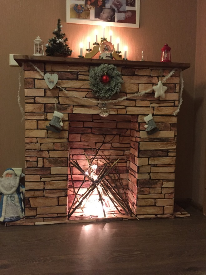 Cardboard fireplace decor