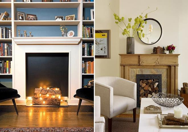 "The decorative fireplace can be revived by backlighting or ""flame tongues"""