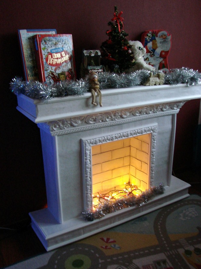Mini-fireplace from one box
