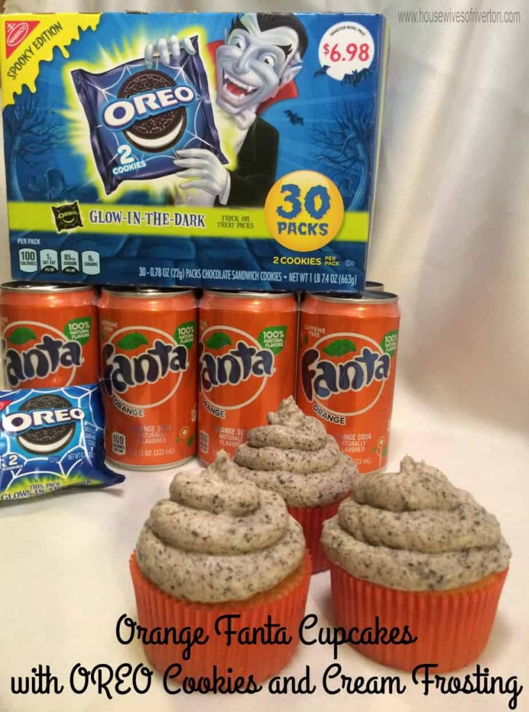 Orange Fanta Cupcakes with OREO Cookies and Cream Frosting Give a try for a fun Halloween treat! #Ad #SpookySnacks #cbias
