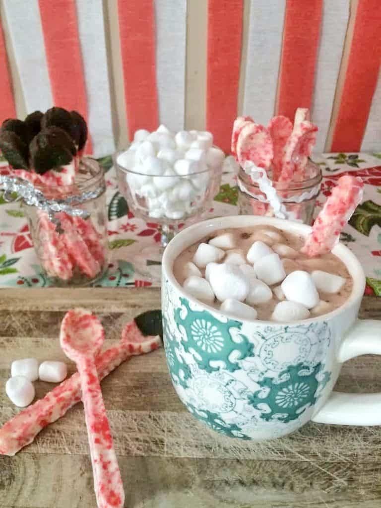 Candy Cane Spoons dipped