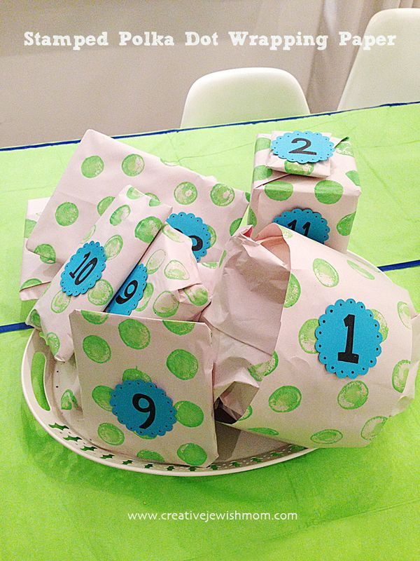 Stamped Polka Dot Wrapping Paper For A Ping Pong Birthday